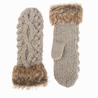 Cable Knit Fur Mittens, NLY Accessories