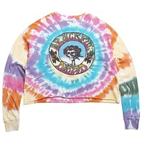The Grateful Dead Skull And Roses Tie Dye Long Sleeve Crop Rainbow Tie Dye