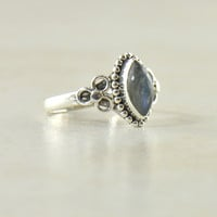 Ananda Marquise Cut Stone Ring in Sterling Silver