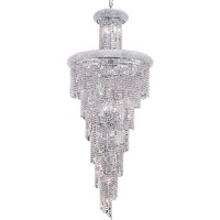 "Spiral 30"" Diam Chandelier, Chrome Finish, Clear Crystal, Elegant Cut"