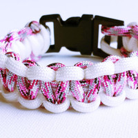 Paracord Bracelet- Para-Band- Paracord Survival Bracelet- Camping Gear- 550 paracord- Military Bracelet- Pink Camo & White-Gifts for Him/Her