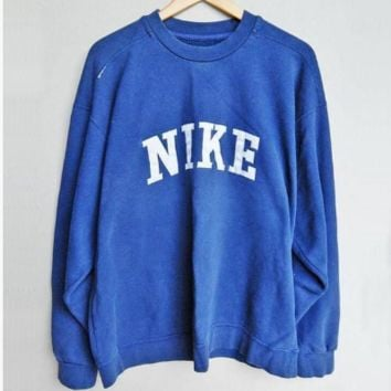 Nike fashion casual long sleeve sport jacket pullover sweater blue
