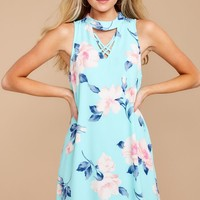 One More For Me Mint Floral Print Dress