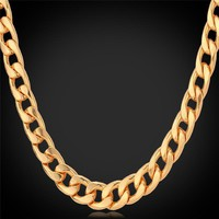 Necklaces Platinum/Rose Gold/18K Gold Plated Curb collar N755