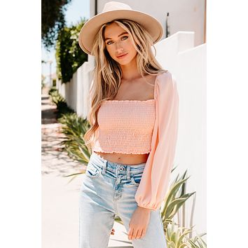 Forever Friends Smocked Long Sleeve Crop Top (Blush)