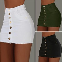 2020 new women's solid color casual bag hip skirt