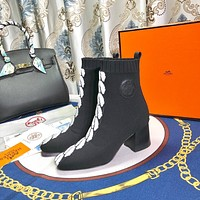 HERMES  Trending Women's Black Leather Side Zip Lace-up Ankle Boots Shoes High Boots