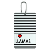 I Love Heart Llamas ID Card Luggage Tag