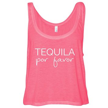 Tequila Por Favor Cropped Flowy Tank Top