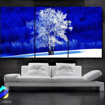 """LARGE 30""""x 60"""" 3 Panels Art Canvas Print Beautiful Nature winter tree Blue White Wall Home (Included framed 1.5"""" depth)"""