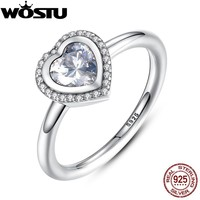 Hot Sale Authentic 925 Sterling Silver Sparkling Love Heart Wedding Ring With Clear CZ For Women Luxury Fine Jewelry XCH7135