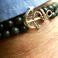 FREE SHIPPING-Men Bracelet, Natural Green Gemstone, Nautical Silver Plated Anchor, Self-Confidence and Inspiration, Men Jewelry.
