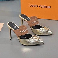 lv louis vuitton fashion trending leather women high heels shoes women sandals heel 108