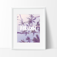 Paradise Typography in Blue, Wall Art, Indie Bohemian