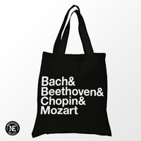 Bach, Beethoven, Chopin and Mozart Black Tote Bag - White & Black Tote Bag - Classical Music Tote Bag - Shopping Bag - 15X16 Inch Tote Bag