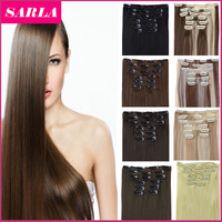 """21 Colors 150g 22"""" 7pcs/set Synthetic Clip In Hair Extensions Heat Resistant Hairpiece Long Straight Natural Hair Extension 777"""