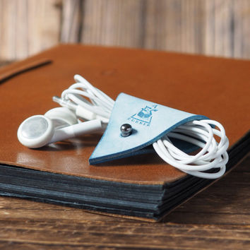 Leather Cord Holder Coated with Wax #Blue