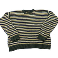 Vintage 1990s 90s Striped Cotton Blend Sweater in Beige/Green/Navy Mens Retro Clothing Size Large