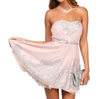 Fia-Nude/Silver Homecoming Dress