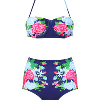 Navy Halter Floral Bikini Top And High Waist Bottom