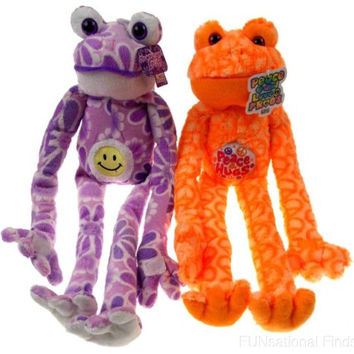 Peace Love Flower Frogs Hugs Smiley Face Lot 2 Hanging Plush Embroidered