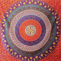 LARGE Multicolor Printed Cotton Fabric Tapestry Hippie Mandala Bedspread Throw Wall Hanging Boho Bohemian Home Decorative Ethnic