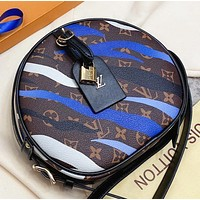 Hipgirls LV New fashion monogram leather round shoulder bag women crossbody bag