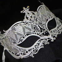 Shades of White and Silver Metallic Masquerade Mask