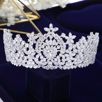 Sparkling Full Zircon Crystal  Royal Crown Wedding Tiara