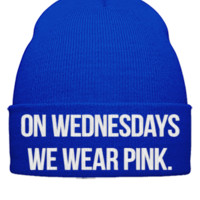 on wednesdays we wear pink embroidery hat  - Beanie Cuffed Knit Cap