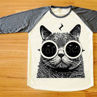 Cat Pott Head T-Shirt Cat Glasses Shirt Cat TShirt Raglan Tee Long Sleeve Shirt Women T-Shirt Men T-Shirt Unisex T-Shirt Baseball Tee S,M,L