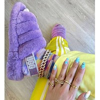 UGG hot sale couple style rendering plush slippers sandals Shoes Boots Purple