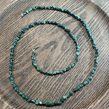 30 Inch Green and Blue Solid Genuine Turquoise Chunk Necklace