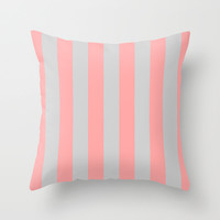 Stripe Vertical Gray Coral Pink Throw Pillow by BeautifulHomes | Society6