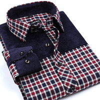 2016 New Flannel men shirts High Quality patchwork Slim fit casual plaid shirt mens'top camisa masculina chemise homme