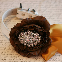 Vintage wedding, Floral Dog Collar, Pet Wedding Accessory, Brown and Gold Floral Collar, Rhinestone, Dog Lovers