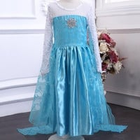Frozen princess clothing girls dress christmas party dress frozen elsa snow queen costume blue dress