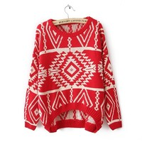Pop Geometric Pattern Retro Sweater JCHBG from psiloveyoumoreboutique