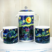 Vintage French Coffee Press Server Set W/ Mugs- 3pc- Chaleur Masters Collection Vincent Van Gogh Starry Night- Christmas Present