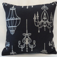 """Silver Chandelier Pillow, 16 x 16"""" on Black Linen, Metallic Brocade Embroidery, Ready to ship (B)"""