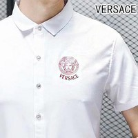 VERSACE Men Casual Print Short Sleeve Lapel Shirt Top Tee