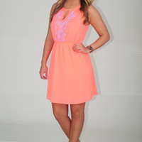 EVERLY: Escaping In Summer Dress: Neon Coral | Hope's