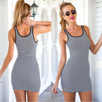 Striped Sleeveless Bodycon Mini Dress