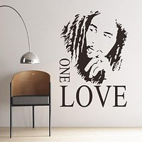 Bob Marley One Love Removable Art Wall Sticker Decal Mural