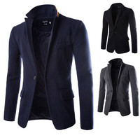 One Button Wool Blended Blazer Jacket