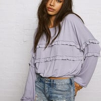 Don't Ask Why Ruffle-Trim Sweatshirt, Lively Lilac