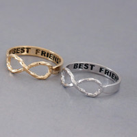 Infinity Ring. 'BEST FRIENDS' twist ring. for her mom friendship ring. choose your color gold and silver. no81