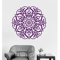 Vinyl Wall Decal Lotus Mandala Ornament Bedroom Decor Buddhism Stickers Unique Gift (ig3472)