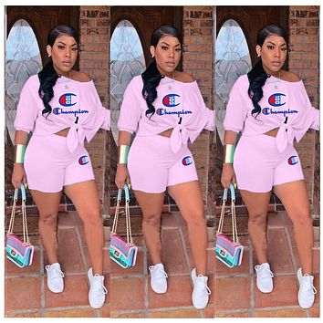 Champion women's letter casual two-piece suit pink