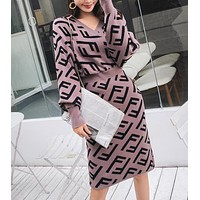 FENDI Newest Popular Women Temperament V Collar Hight Waist Knit Double F Letter Jacquard Long Sleeve Dress Purple
